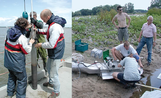Links: Taking sediment samples at the Rhine / Right: Using an in-situ erosion tester at the Elbe