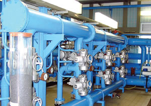 Pipes and fittings in a water works (filter outlet and flush water distribution)