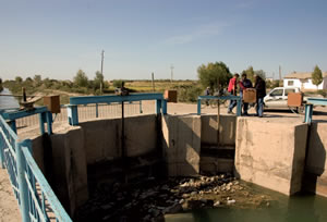 An irrigation channel with distribution structure
