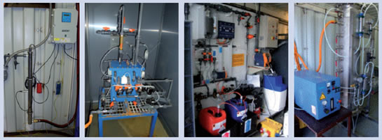 Pilot system for wastewater disinfection (from left): UV radiation, electrochlorination, chlorine dioxide, ozone